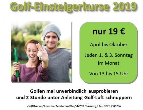 Golf-Einsteigerkurse 2019